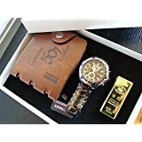 MENS LUXURY 3 PIECE LEATHER WALLET BUSINESS WATCH GOLD BAR SHAPE LIGHTER WITH GIFT BOX