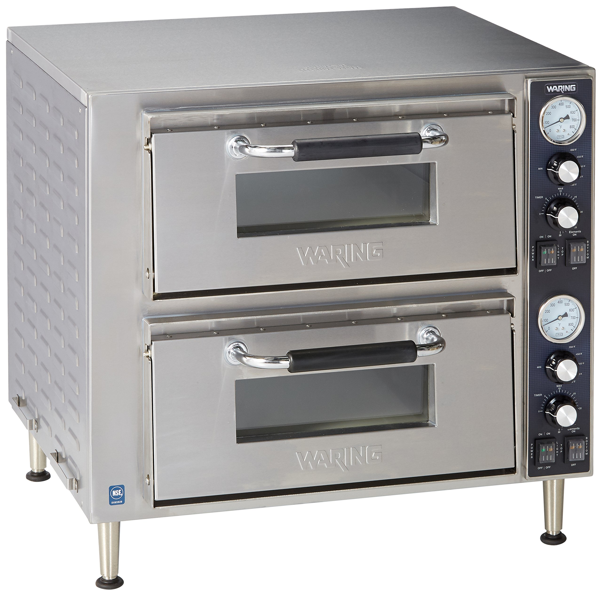 Waring Commercial WPO750 Double Deck Pizza Oven with Dual Door, Silver by Waring