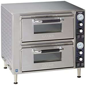 Waring Commercial WPO750 Double Deck Pizza Oven with Dual Door, Silver