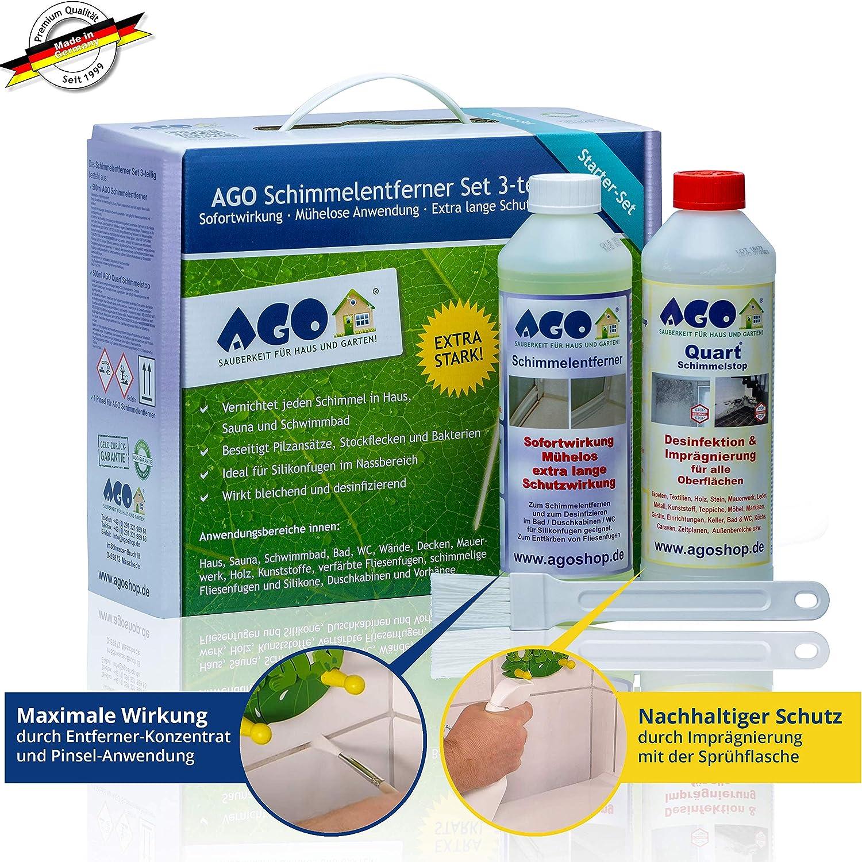 AGO® Schimmelentferner & Schimmelstop Set I Anti Schimmel Imprägnierung &  Schimmel Blocker je 12ml