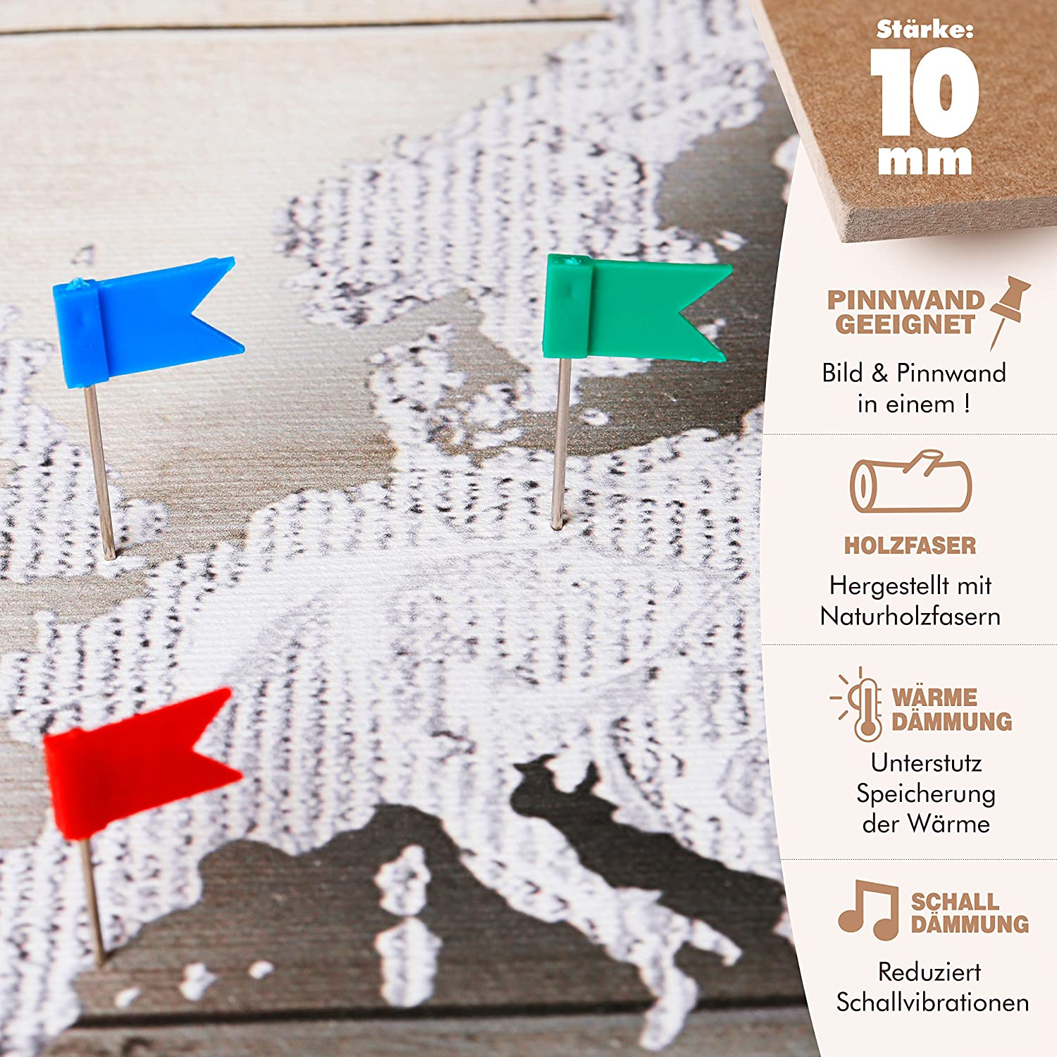 murando World map with pinboard 120x80 cm 1 Piece Print on Canvas Beaverboard Canvas Practical pinboard to Pinching Your Notes World map k-A-0130-v-a