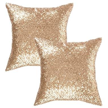 Kevin Textile Decorative Throw Sequin Pillow Sham Glitzy Comfy Satin Solid Sequins Pillow Cover 18 Inch Square Cushion Cover, Hidden Zipper Design, 2 Pieces(Light Gold)