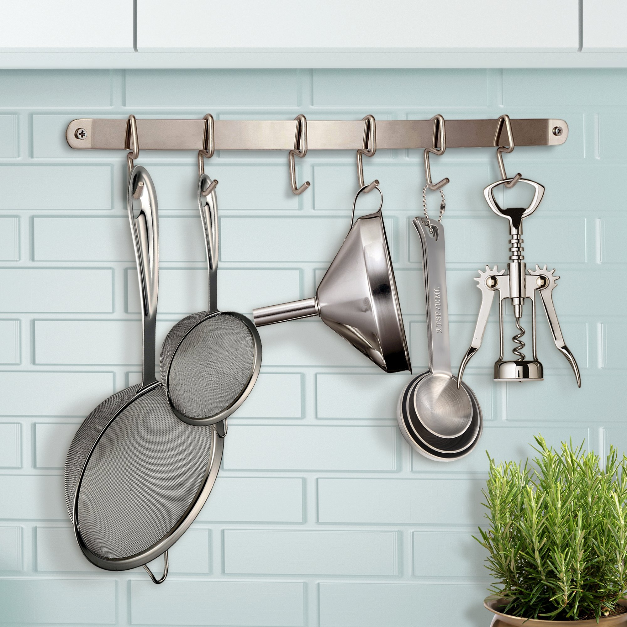 Pro Chef Kitchen Tools Stainless Steel Utensil Hanging Rack 6 Hooks To Hold And Organize Utensils Pots Pans On Wall Mounted Hanger Bar