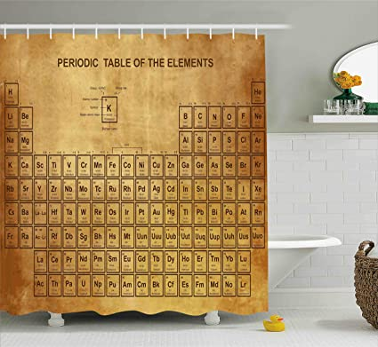 Ambesonne Science Shower Curtain Elements Chemistry Table Vintage Old Design For Scientists Student Print
