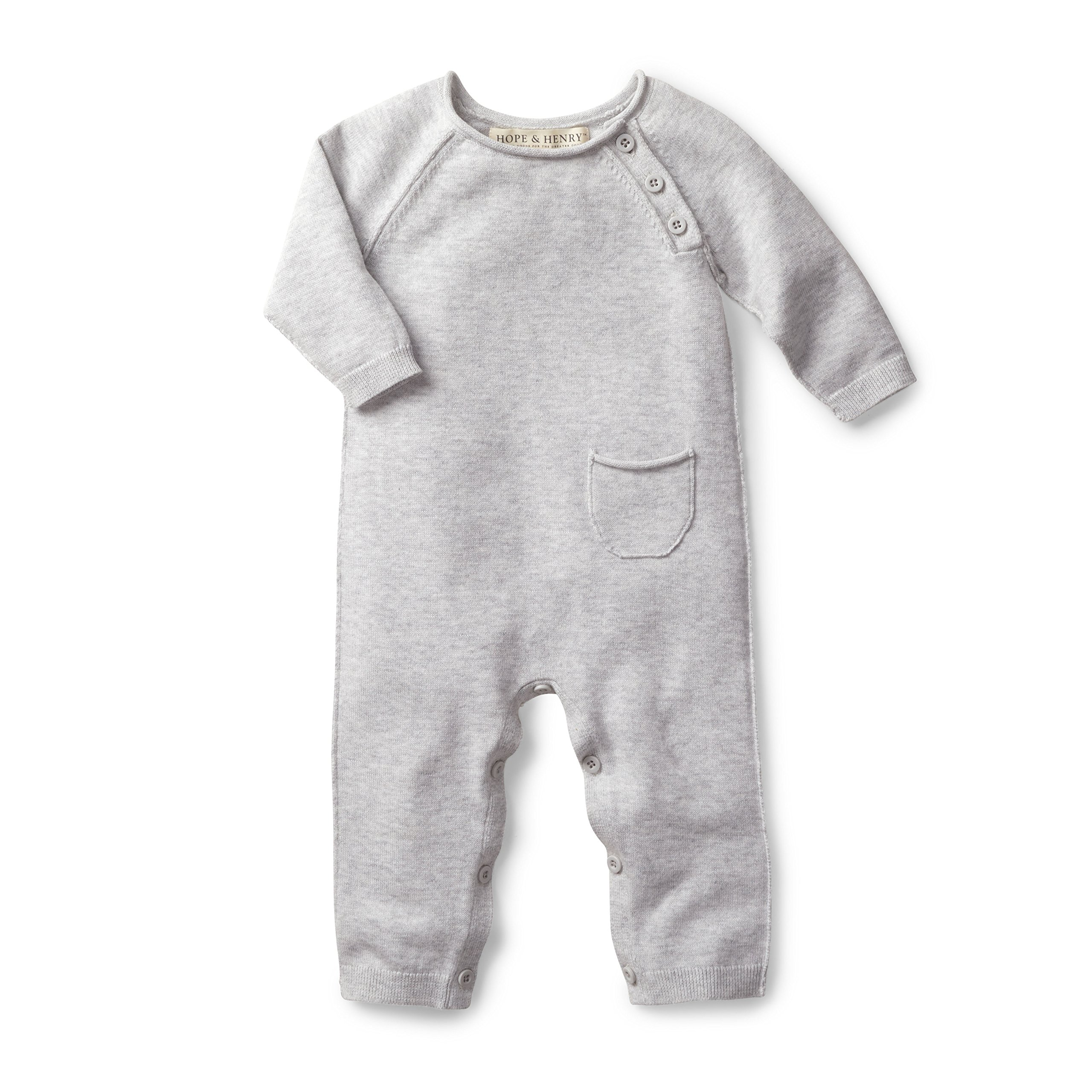 Hope & Henry Layette Grey Baby Sweater Romper Made with Organic Cotton
