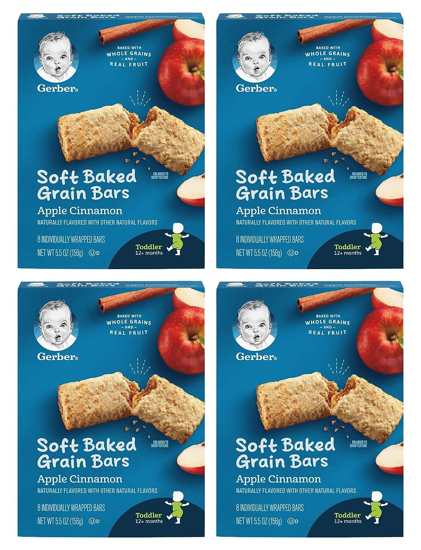 Gerber Soft Baked Grain Bars, Apple Cinnamon, 8 Individually Wrapped Bars/Box (Pack of 4)