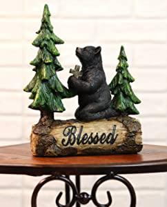 "Ebros Blessed Rustic Western Black Bear Kneeling On Log by Pine Trees While Holding A Cross and Praying Statue 7.25"" H Wildlife Forest Cabin Decor Bears Inspirational Figurine"