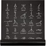 """(Black) - NewMe Fitness Instructional Yoga Mat Printed w/ 70 Illustrated Poses, 24"""" Wide x 68"""" Long, for Women & Men : Non Slip, Eco Friendly PVC, Non Toxic : for Home or Gym : 5mm Thick"""