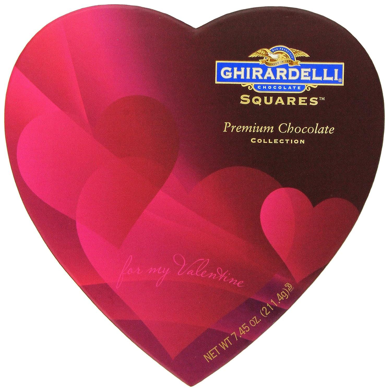 Amazon.com : Ghirardelli Valentineu0027s Chocolate Squares, Premium Chocolate  Assortment, 7.45 Ounce Heart Box : Gourmet Chocolate Gifts : Grocery U0026  Gourmet ...