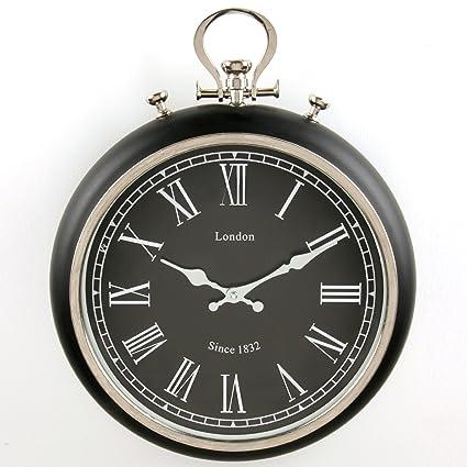 Reloj de pared, diseño retro con bolsillo, diámetro 38 cm, color negro y