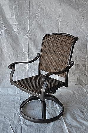 Santa Clara Outdoor Set of 4 Patio Swivel Rocker Dining Chair Dark Bronze Cast Aluminum