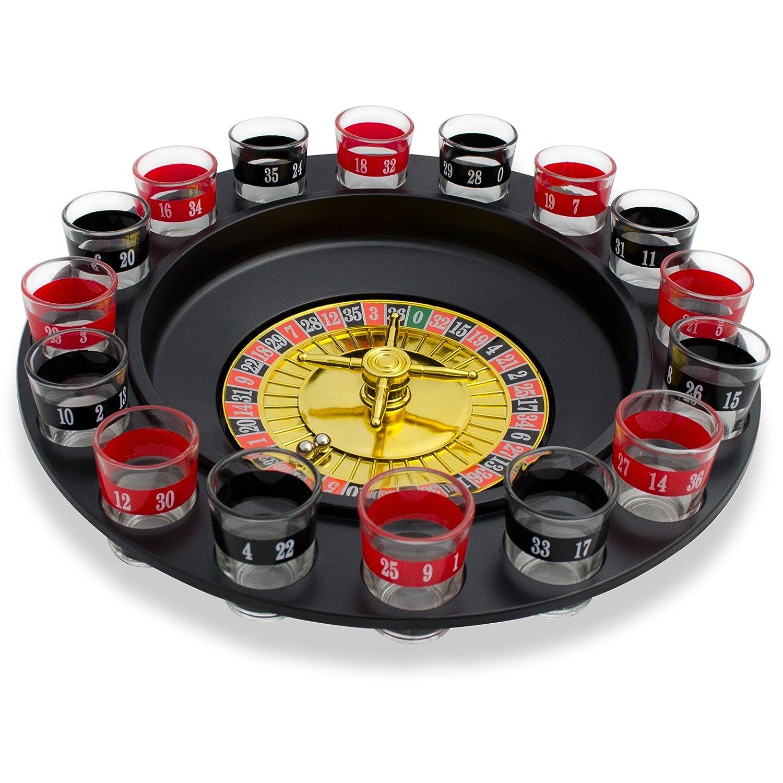 Set shottini e ruota della roulette - Nero Design Casinò - 16 bicchierini da shot per giochi alcolici - Grinscard
