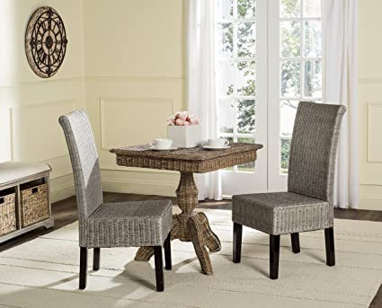 Charming Safavieh Home Collection Arjun Wicker Dining Chair, Antique Grey