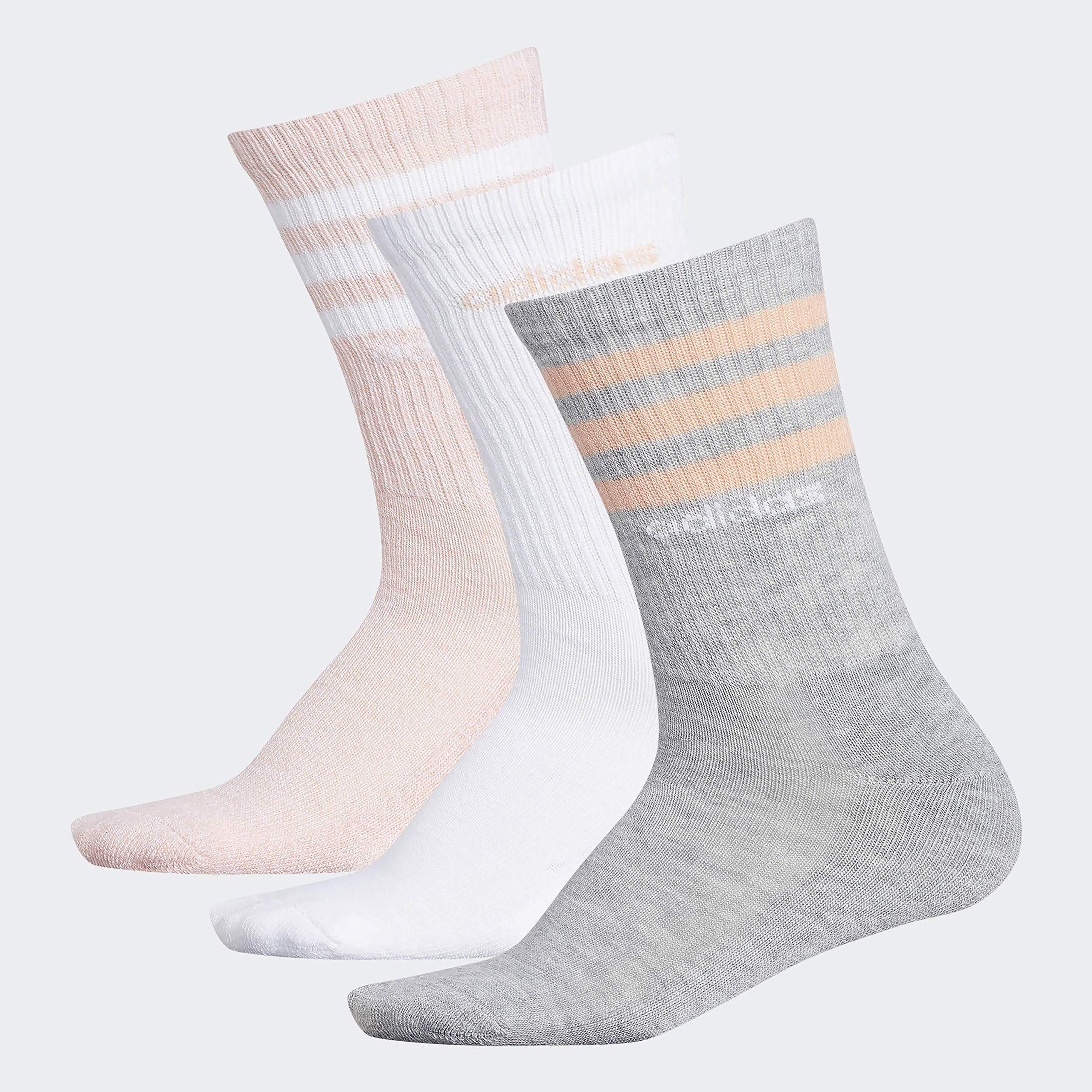 adidas Women's 3-Stripe Crew Socks (3-Pair), Light Heather Grey/Glow Pink/White/Glow Pink - White, Medium, (Shoe Size 5-10) by adidas