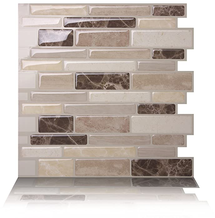 Tic Tac Tiles Anti-Mold Peel and Stick Wall Tile in Polito Bella (10 Tiles)