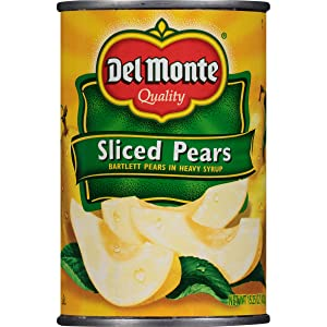 Del Monte Canned Bartlett Sliced Pears in Heavy Syrup, 15.25-Ounce (Pack of 12)