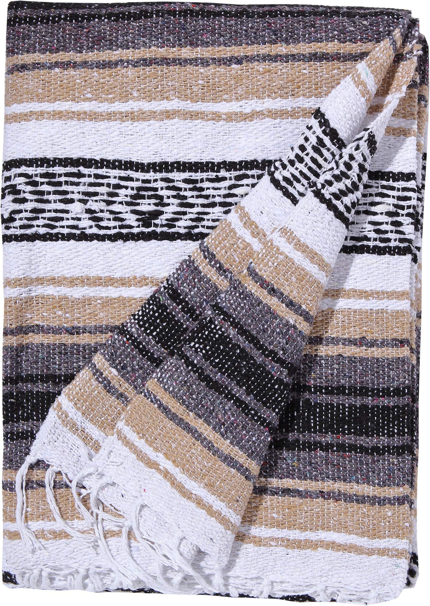 El Paso Designs Genuine Mexican Falsa Blanket - Yoga Studio Blanket, Colorful, Soft Woven Serape Imported from Mexico (Beige) by El Paso Designs (Image #2)
