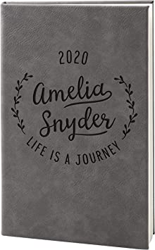 Personalized Leather Journal, Gray, Lined Pages