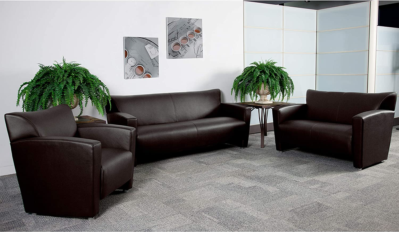 "Flash Furniture Brown Leather Reception Set, 43.43""-43.43"" W x 43"" D x  43.43"" H"