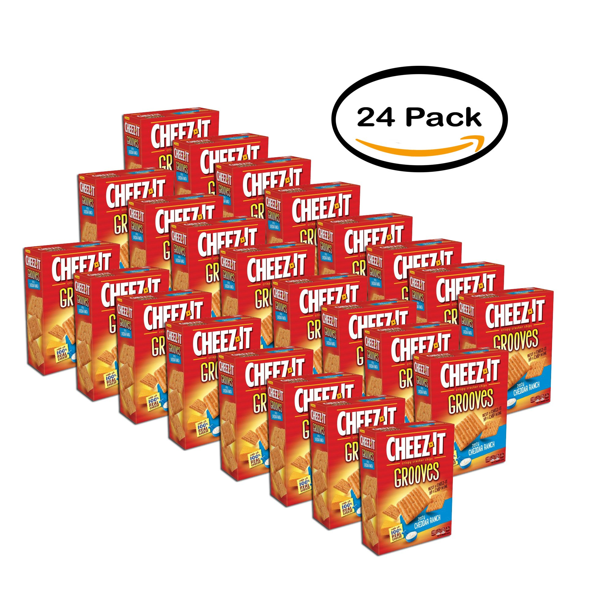 PACK OF 24 - Cheez-It Grooves Zesty Cheddar Ranch Crispy Cracker Chips 9 oz. Box
