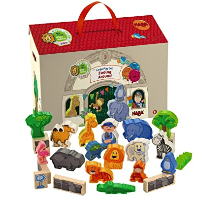 HABA Zooing Around Portable Wooden Zoo Play Set with 23 Wooden Pieces for Ages 18 Months and Up: Toys & Games