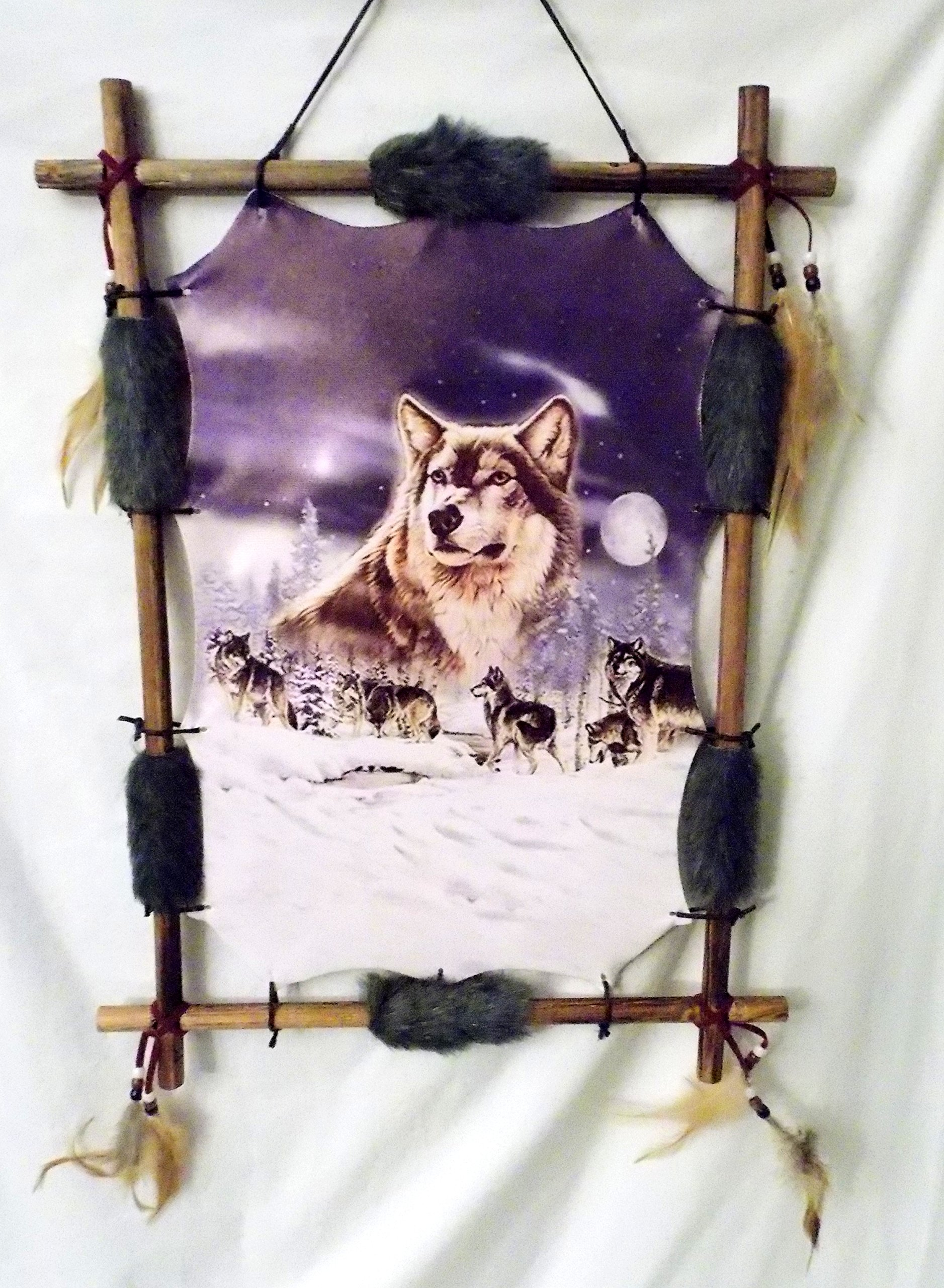 New Grey Wolf Pack in a Snow covered Birch Tree Forest Wood Frame Dream Catcher 22'' x 16'' by Dreamcatcher (Image #3)