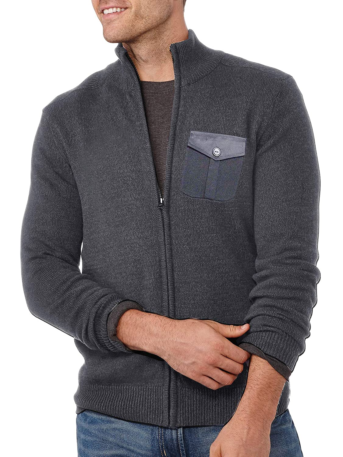 COOFANDY Men's Zip up Sweater Slim Fit Casual Lightweight Knitted Cotton Cardigan 10030007