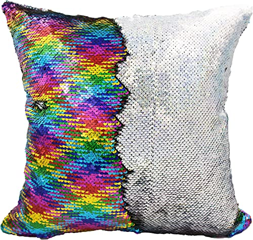 Personalized Mermaid Reversible Sequin, Custom Sequin Pillow Rainbow Silver