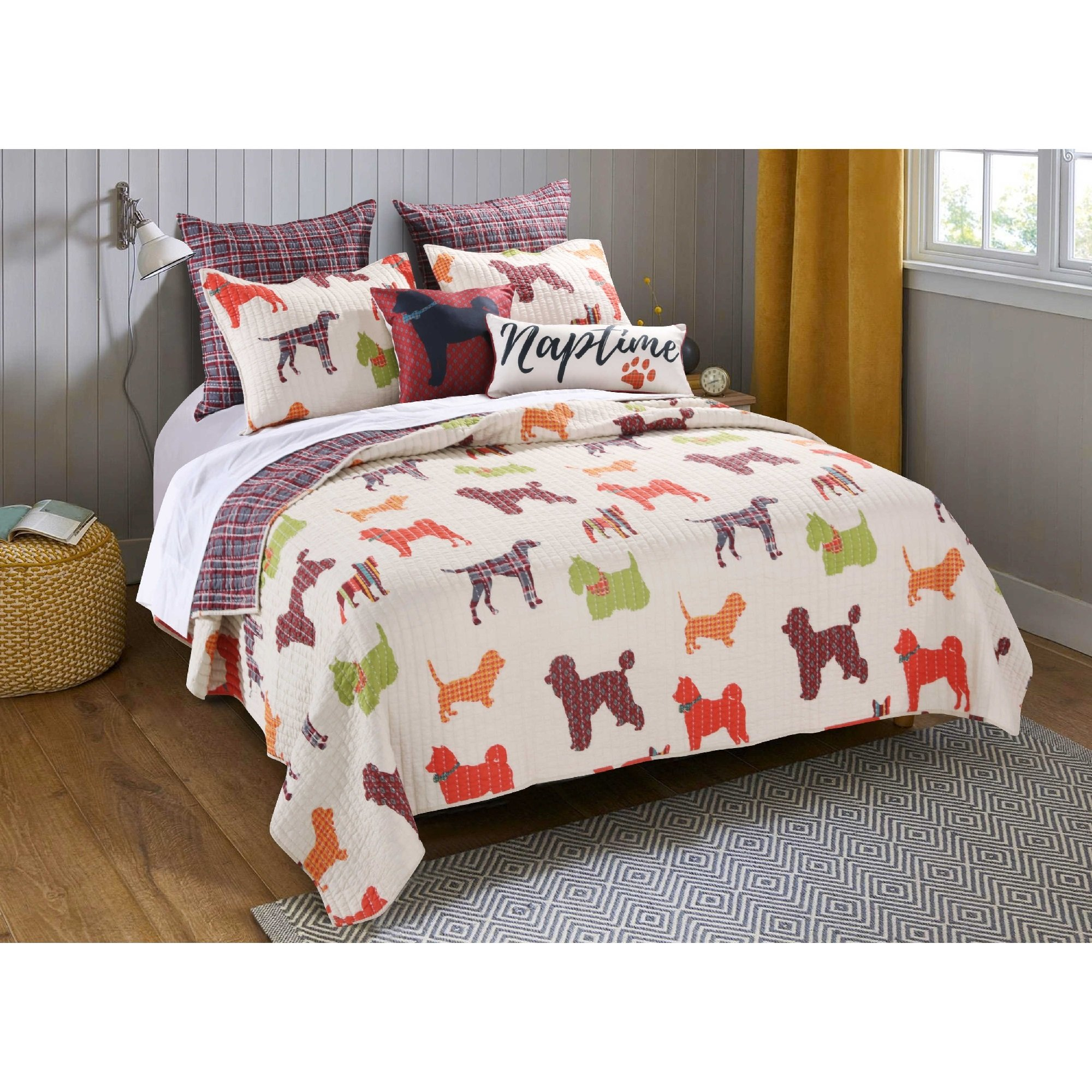 2 Piece Colorful Doggy Breeds Design Reversible Quilt Set Twin Size, Printed Graphic Poodle Dushanbe Bulldogs Terriers Bedding, Reverse Geometric Checkered Themed, Bright Animals Pattern, Red, Cream