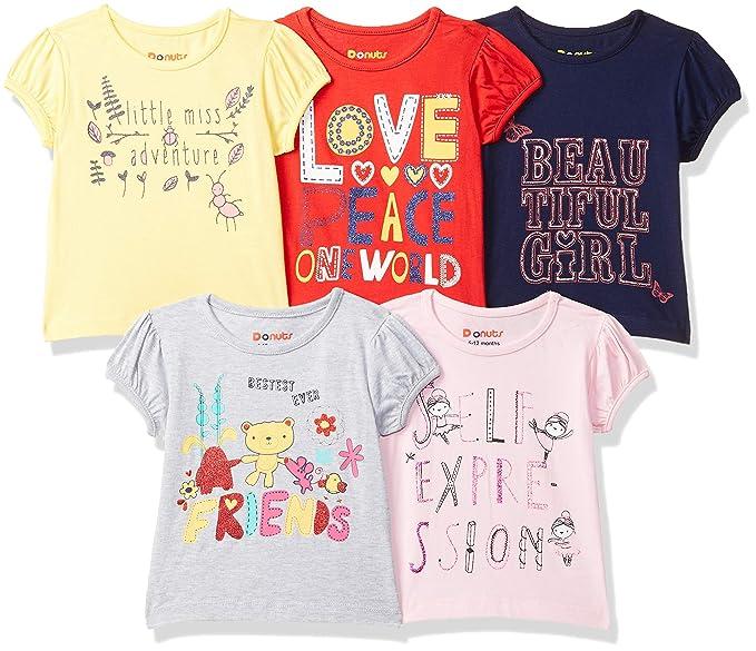 Baby-Girl's Regular fit T-Shirt (Pack of 5)