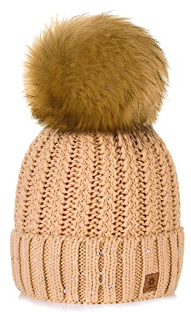 a6874b4b127 4sold Womens Ladies Winter Hat Wool Knitted Beanie with Large Pom Pom Cap  SKI Snowboard Hats Bobble Gold Circle Little Crystals (Beige)   Amazon.co.uk  ...