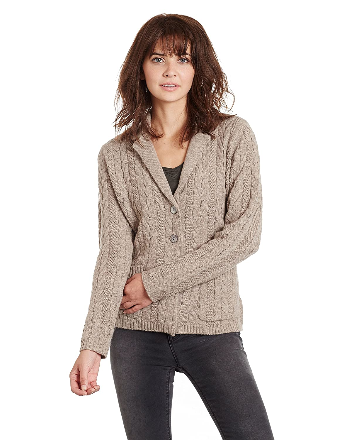 Invisible World Womens Cashmere Sweater Button Up Cable Knit Cardigan