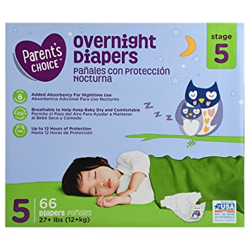 Branded Parents Choice Overnight Diapers, Size 5, 66 Diapers , Weight 27lbs - Branded
