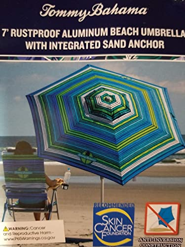 Tommy Bahama 2020 Sand Anchor 7 Feet Beach Umbrella with Tilt and Telescoping Pole Green Blue Stripes