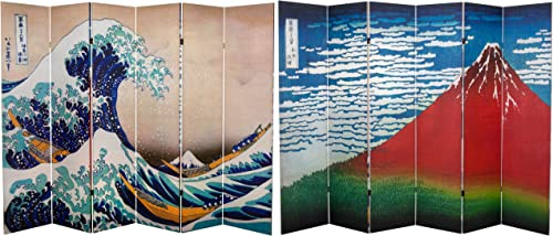 Oriental Furniture 6 ft. Tall Double Sided Hokusai Room Divider – Great Wave Red Fuji