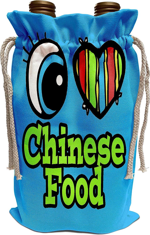 3dRose Dooni Designs Eye Heart I Love Designs - Bright Eye Heart I Love Chinese Food - Wine Bag (wbg_105961_1)