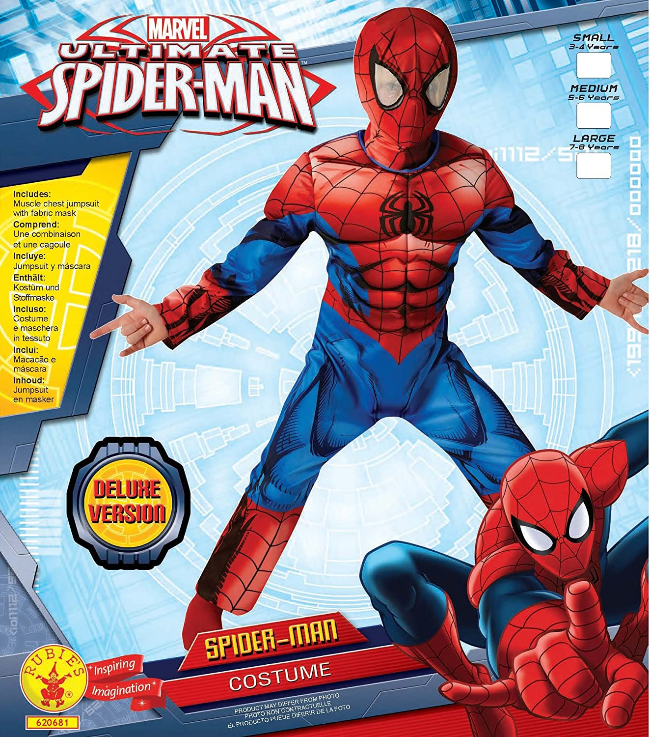 Rubieu0027s Official Deluxe Ultimate Spiderman Children Costume - Small Rubies Amazon.co.uk Toys u0026 Games  sc 1 st  Amazon UK & Rubieu0027s Official Deluxe Ultimate Spiderman Children Costume - Small ...