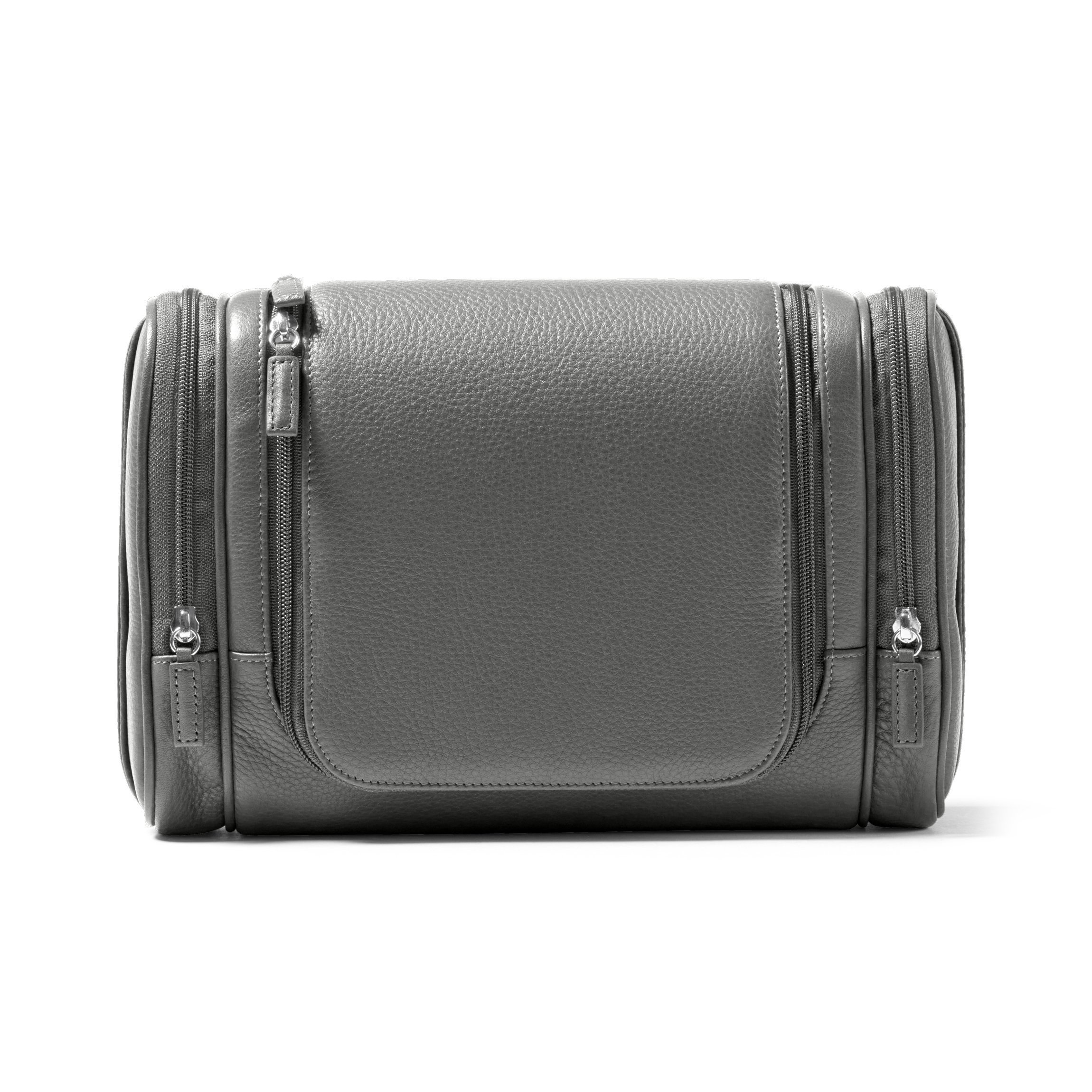 Leatherology Multi Pocket Hanging Toiletry - Full Grain Leather - Charcoal (gray)