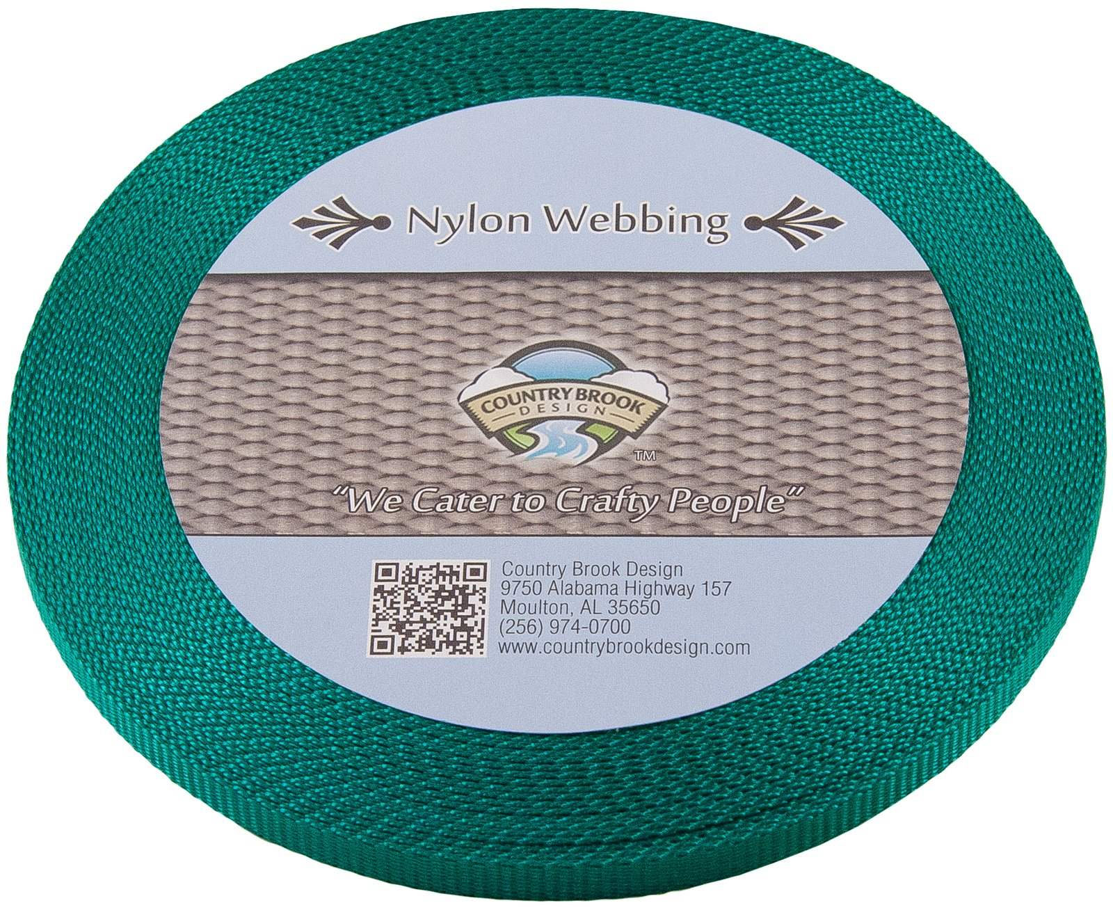 Country Brook Design | 3/8 Inch Teal Heavy Nylon Webbing, 10 Yards