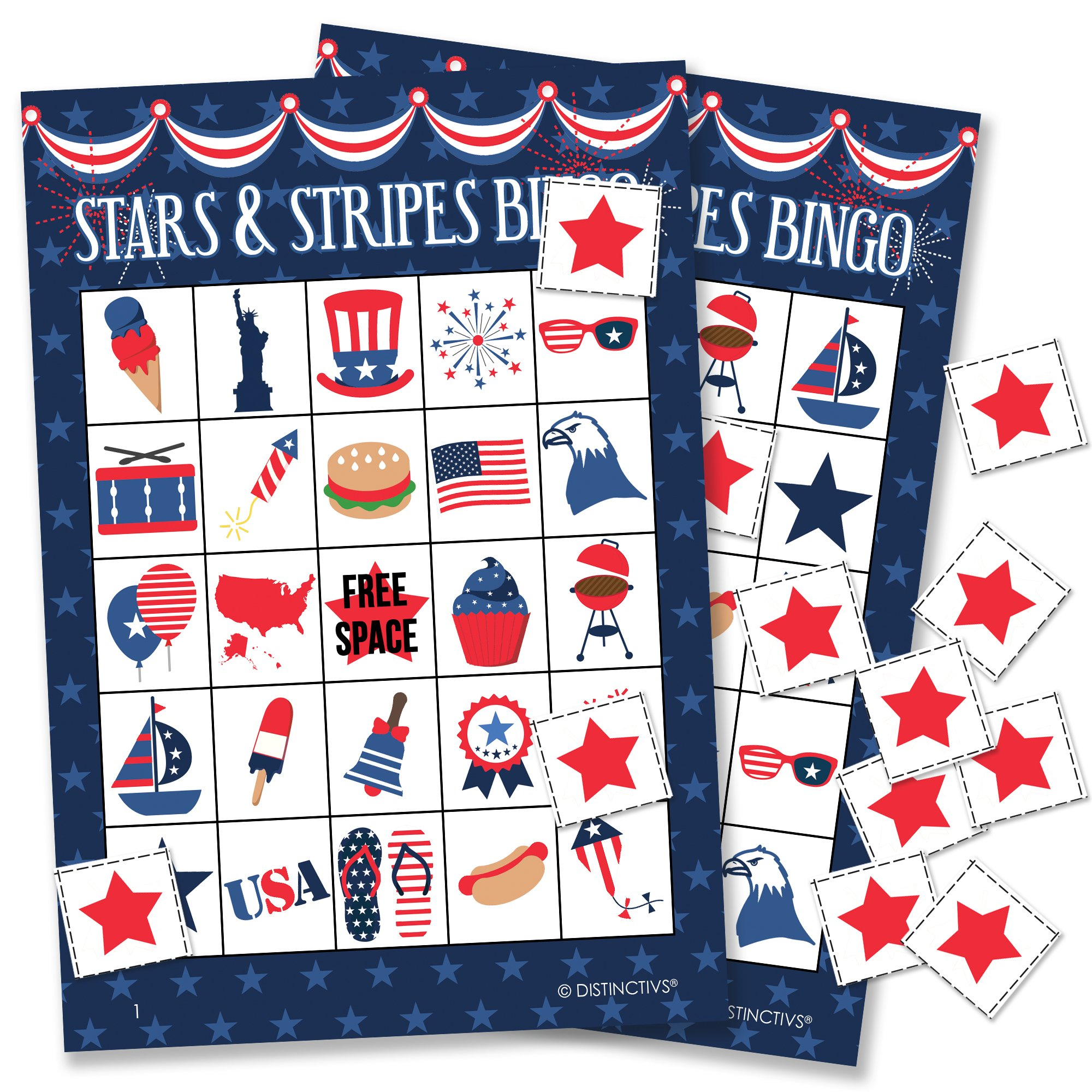 Patriotic Stars and Stripes Bingo Game for Kids - 24 Players by DISTINCTIVS