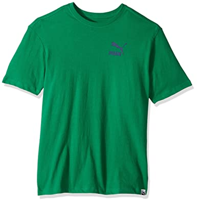 ef3a83523d6 PUMA Men's Archive Logo Box T-Shirt, Verdant Green/Blue Depths, Small