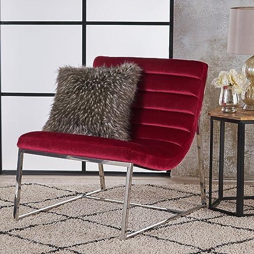 Christopher Knight Home Raoul Parisian Modern Velvet Sofa Chair, Ruby Stainless Steel