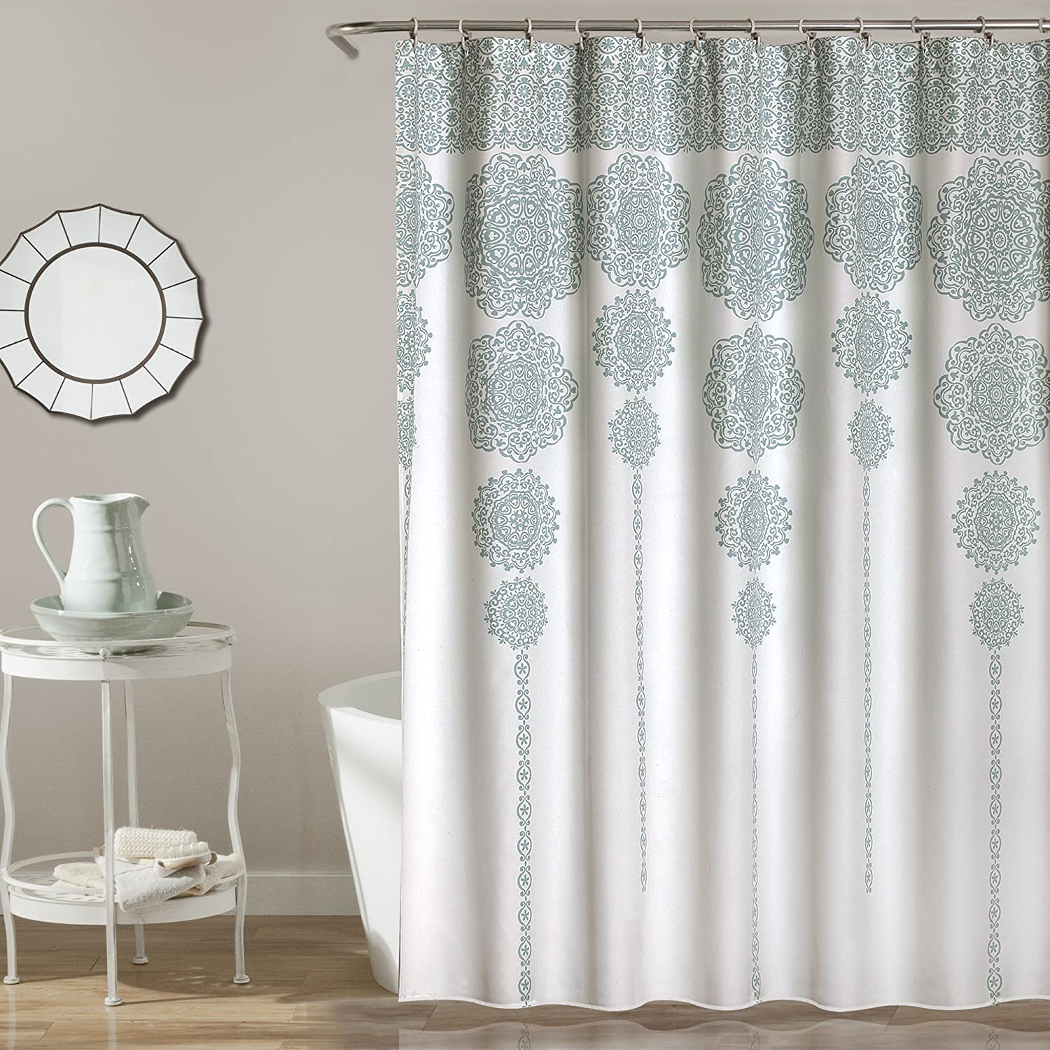 "Lush Decor, Blue Stripe Medallion Shower Curtain-Fabric Mandala Bohemian Damask Print Design, x 72, 72"" x 72"""