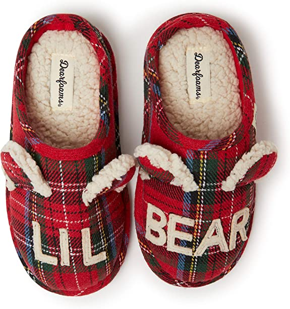 Dearfoams Kids Bear Clog Slippers (Lil Bear, Big Bro Bear, Big Sis Bear) - Cute, Cozy and Comfortable in Classic Patterns - Cushioned Insole with Memory Foam - Indoor/Outdoor Rubber Outsole best kids' slippers