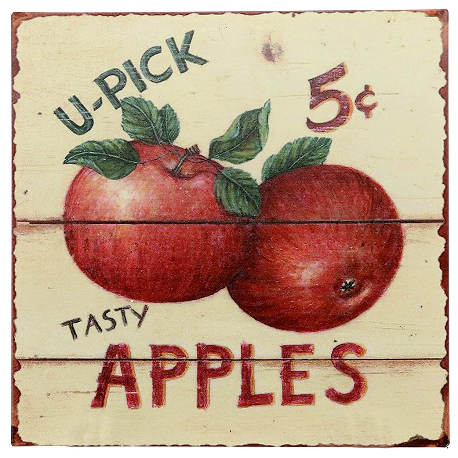 "Barnyard Designs Tasty Apples 5 Cents Retro Vintage Tin Bar Sign Country Home Decor 11"" x 11"""