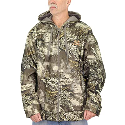 Realtree Mens Heavyweight Sherpa Lined Camo Jacket with Hood, X-Large, RT Max Green at Men's Clothing store