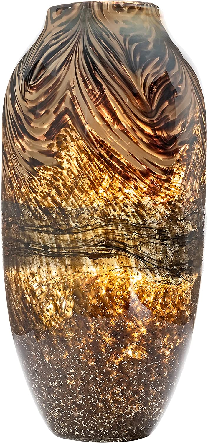 Large Handmade & Mouthblown Brown & Gold Glass Decorative Flower Vase for Home Decor – Centerpiece or Floor – 14.5 inch/37cm Tall – Living Room, Dining Table, Statement, Lobby, Office, Decoration.