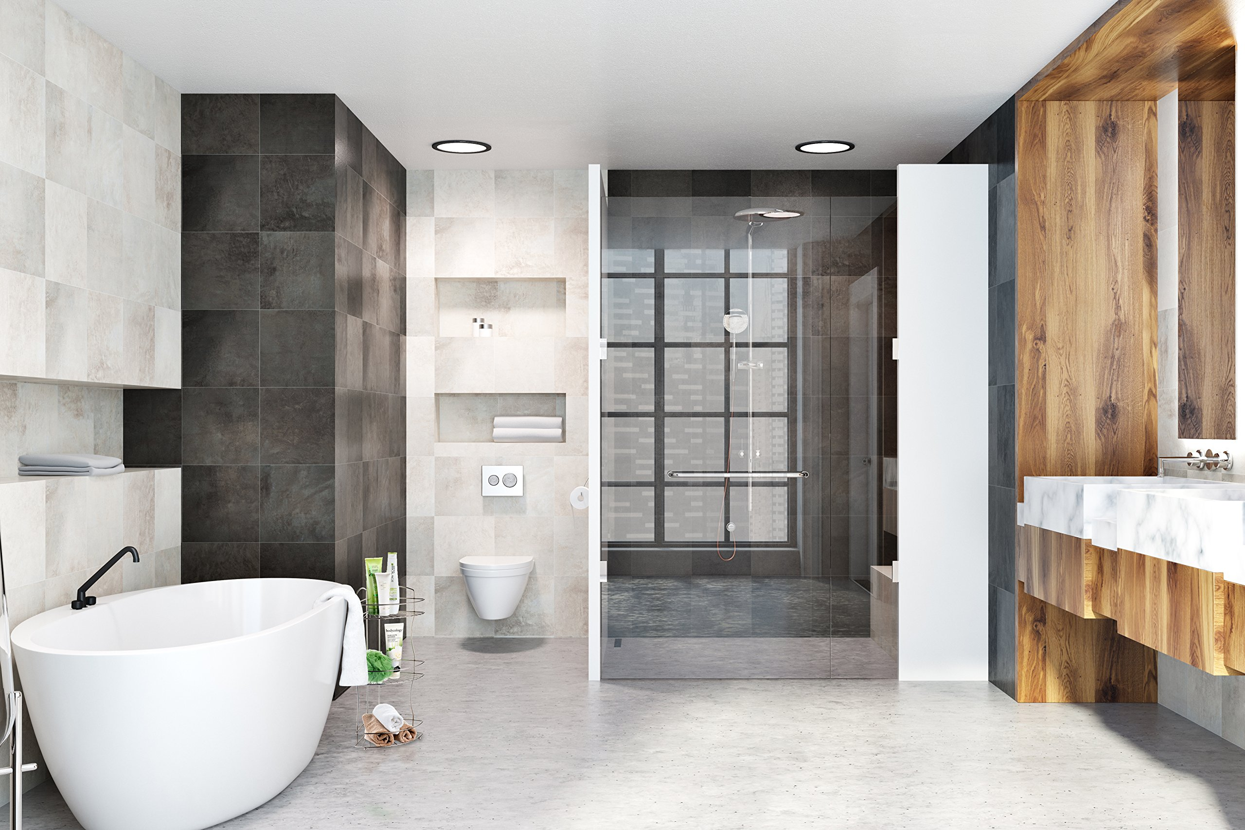 AMG and Enchante Accessories Free Standing Bathroom Spa Tower Floor Caddy, FC232-A SNI, Satin Nickel by AMG (Image #4)