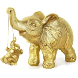 Golden Elephant Statues Decor Gift for Mom, Elephant Figurines Collection, Elephant Home Decoration, Ideal Gift for Mother Fa
