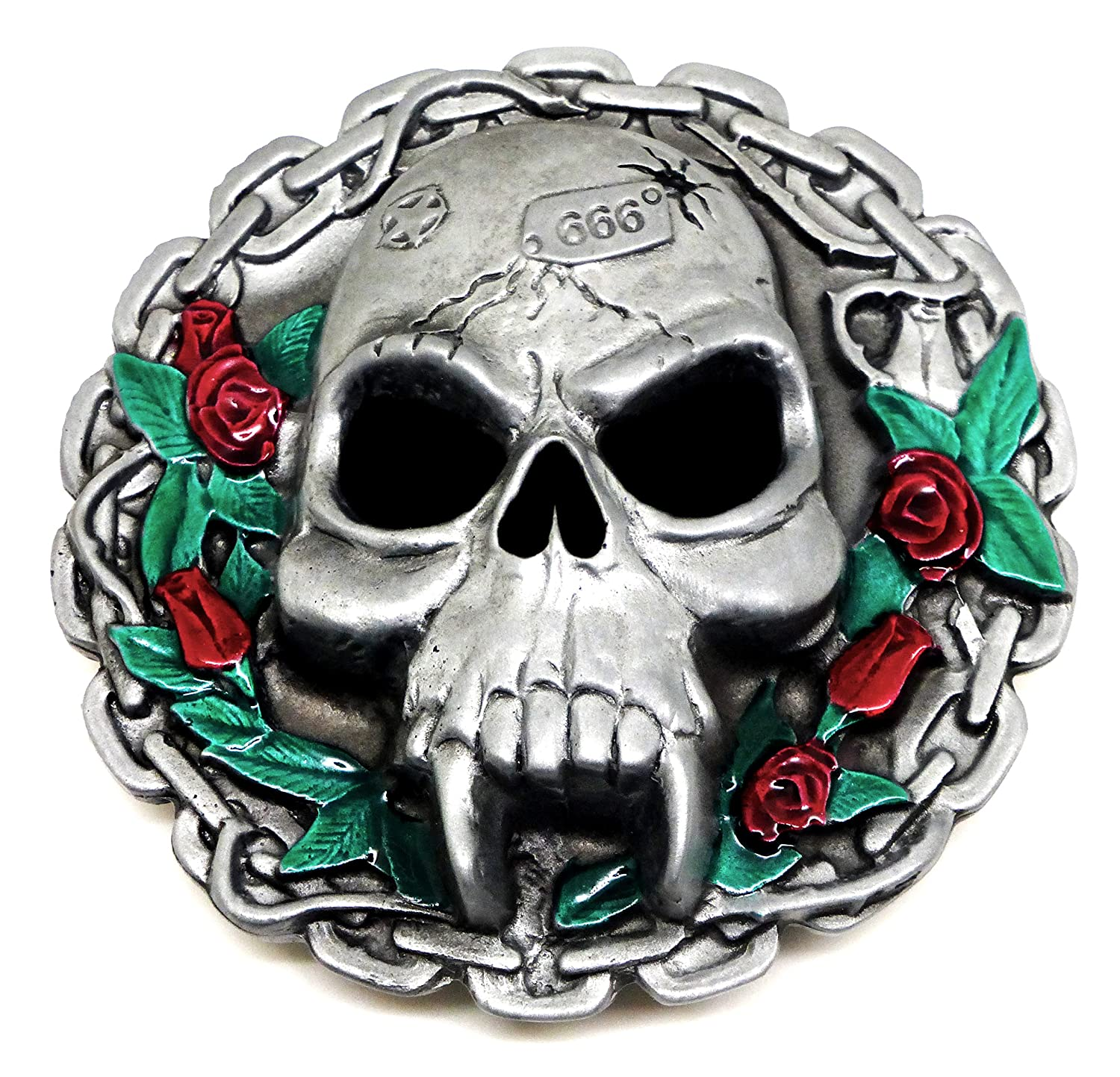 Skull Belt Buckle Vampire With Chain & Roses Design Authentic Ultimate Buckles Branded Product (Dragon Designs) DDU 1081